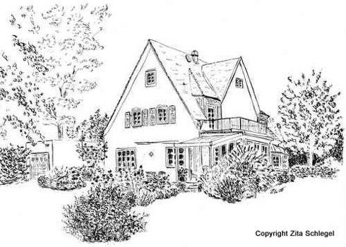 hausportrait von zita schlegel lassen sie ihr haus zeichnen. Black Bedroom Furniture Sets. Home Design Ideas